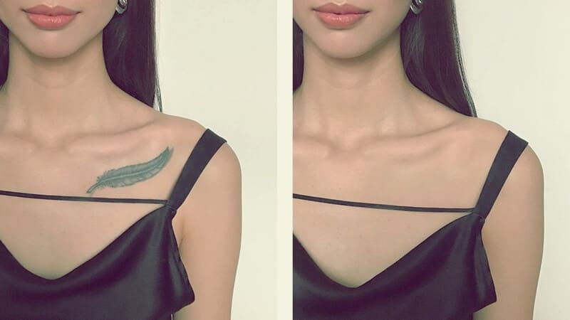 Uso de labial para cubrir tatuajes